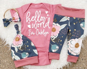 Newborn Girl Coming Home Outfit, Hello World Personalized Newborn Outfit, Hello World Bodysuit, Fall Baby, Hello World Girl, Floral Baby