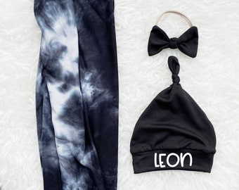 Black & White Tie Dye Swaddle Set - Personalized