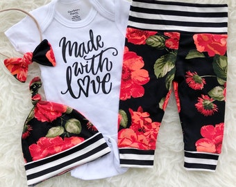 Made With Love, Made With Love ONESIE®, Made With Love Newborn Outfit Girl, Made With Love ONESIE® Girl, Newborn Girl Coming Home Outfit