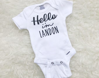 Hello I'm New Here, Hello Im New Here, Hello Onesie, Newborn Boy Outfit, Coming Home Outfit Boy, Newborn Baby Boy