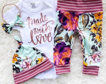 Made With Love, Made With Love ONESIE®, Made With Love Outfit, Love Made Me ONESIE®, Newborn Girl Coming Home Outfit, Newborn Girl Outfit