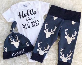 Hello I'm New Here, Hello Im New Here, Hello I'm New Here ONESIE®, Hello ONESIE®, Newborn Boy Going Home Outfit, Baby Leggings