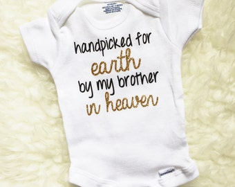 Handpicked For Earth By My Brother, Rainbow Baby Bodysuit, Personalized Baby Clothes, Rainbow Baby Gift, Rainbow Baby Suit