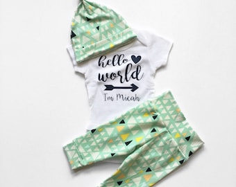 Hello World, Going Home Outfit, Coming Home Set, Newborn Baby Boy Set, Coming Home Set, Coming Home Outfit, Newborn Baby Boy