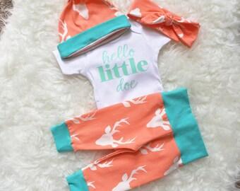 6a305150 Going Home Outfit, Hello World, Newborn Set, Personalized Bodysuit, Newborn  Going Home Outfit Baby Girl, Oh Deer, Hello Little Doe