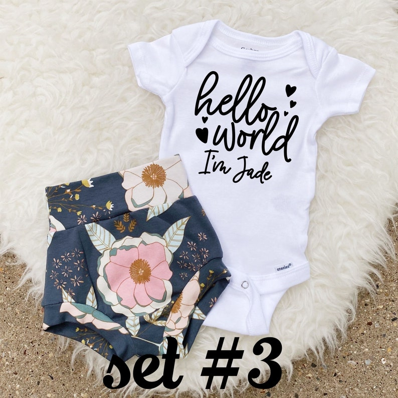 Newborn Girl Coming Home Outfit Name Announcement Outfit Floral Bloomers Newborn Baby Girl Outfit Baby Bummies Hello World ONESIE\u00ae