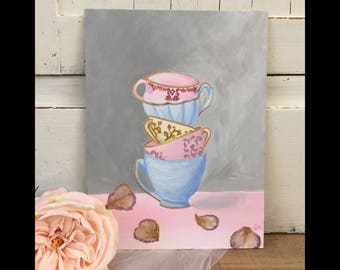 Shabby chic teacup painting
