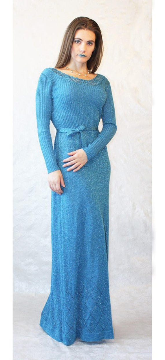Metallic Blue Knit Maxi Dress 70s Vintage by Wenji