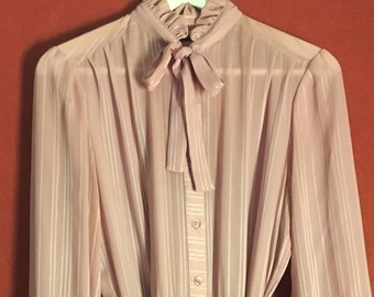 74884030cea Vintage 80s dress High Neck Pussy BowTie longsleeve pleated pale pink size s