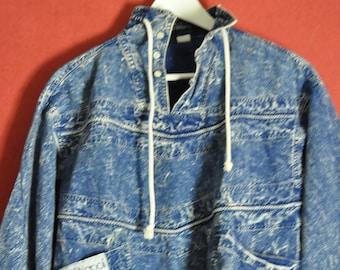 Vintage 80s denim jacket acid wash  size  Small S  1980s Acidwash top
