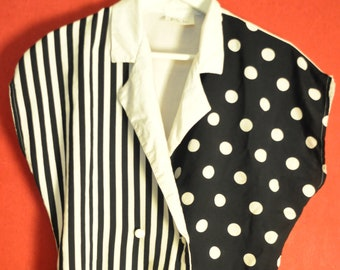 vintage blouse Polkadotted  Black white DoubleButtoning size s