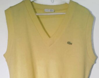 Vintage 80s Pullover V neck sleeveless Lacoste yellow Knitted vest s