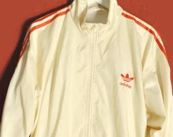 Vintage WINDBREAKER Adidas Trefoil creamwhite red stripes Size S small