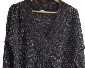 Black Silver metallic silver Lurex VINTAGE 1980/'s Angora Wool Sweater   80s Arabesque