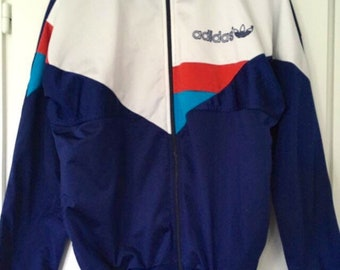 d86aaa1dd0 Vintage 80s 90s track jacket Adidas trefoil blue white red turquoise size  180 cm