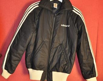 VIntage 70s Adidas Jacket Black White Classic Trefoil zipUp puffer winter  padded jacket Size S RARE 84cd19c93b35