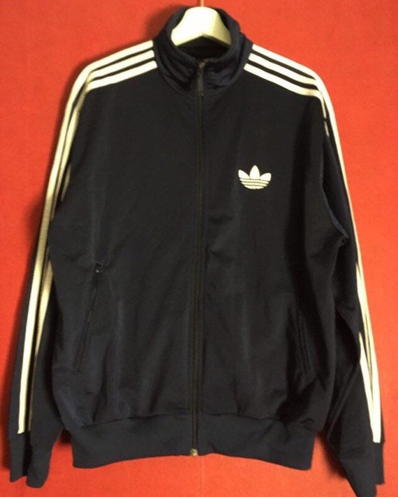 Adidas Track Jacket blue white trefoil striped zip up size L