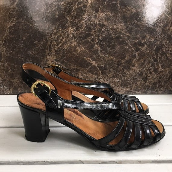Vintage 70s shoes black size 38
