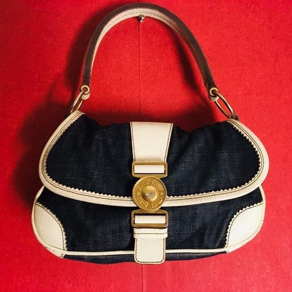 Vintage bag MiuMiu denim white leather