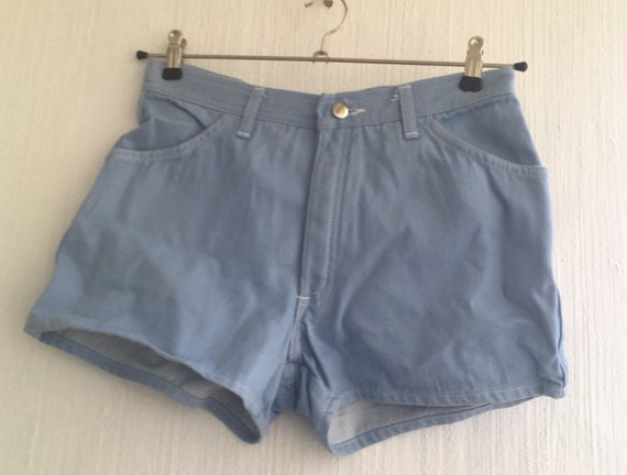 vintage 70s shorts light blue denim s