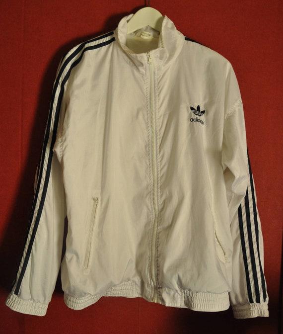 Vintage 80s90s Windbreaker Adidas Trefoil White BlueStripes Size M sIp9jjE
