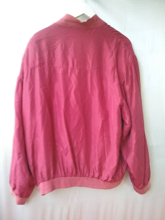80s 90s Silk red Bomber  Silk men s Jacket Size L… - image 7
