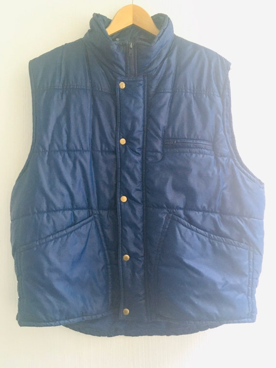 70s 80s jacket sleeveless vest navy blue L