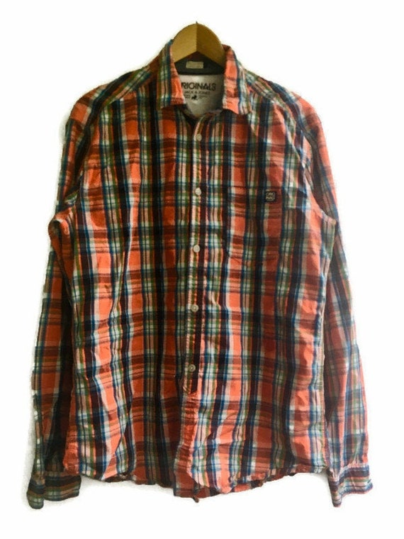 PLAID KNOT Front BLOUSE Vintage 80 /'Wild Flowers/' Woman Crop Top Red Blue Checked Button Up Shirt sz L