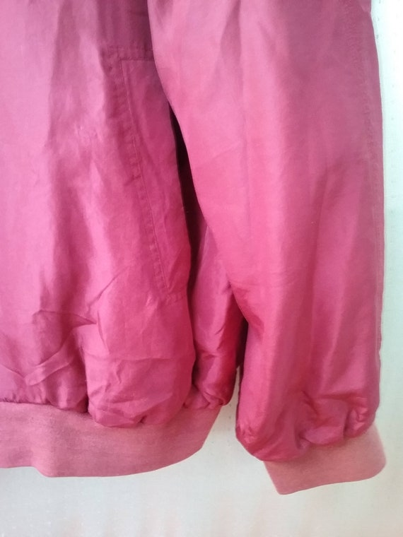 80s 90s Silk red Bomber  Silk men s Jacket Size L… - image 3