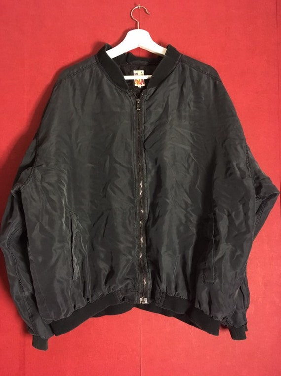 80s 90s Silk red Bomber  Silk men s Jacket Size L… - image 5