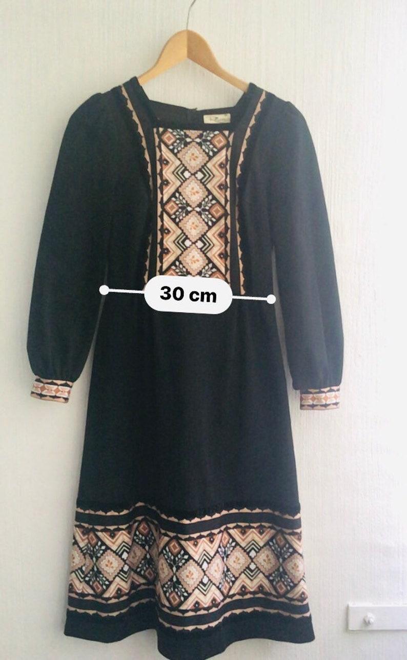 70s dress aplak black patterned longsleeved size 36 xs