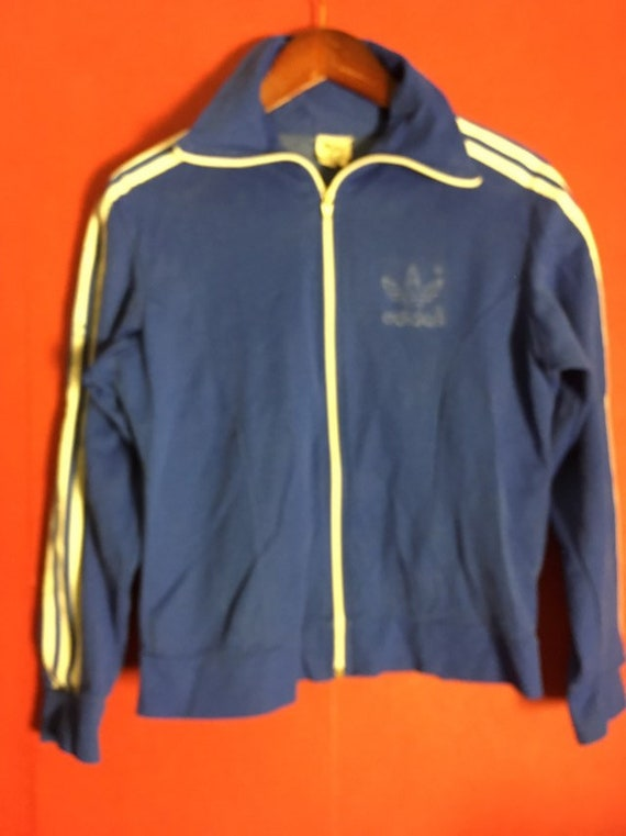 Vintage 70s track jacket top Trefoil Adidas blue size s rare