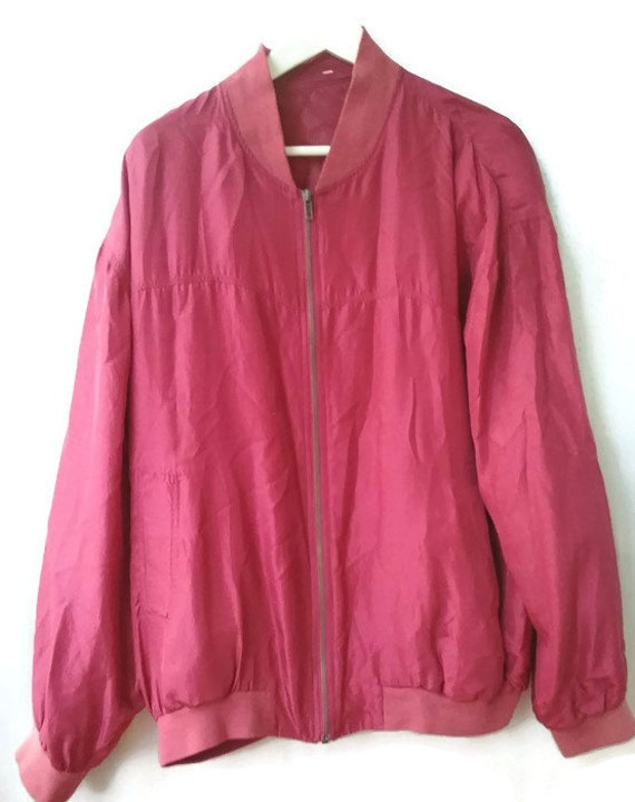 80s 90s Silk red Bomber  Silk men s Jacket Size L… - image 4