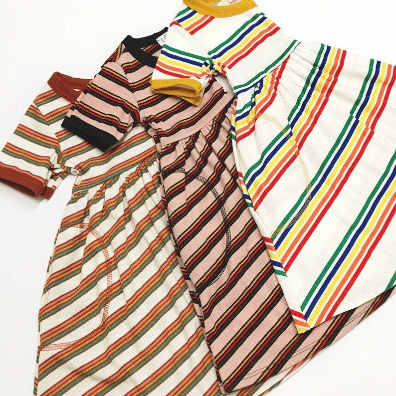 Eden Dress in Ribbed Mauve Rainbow Stripes Sz.2T-7 ON SALE