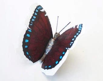 Metal Butterfly Sculpture, Camberwell Beauty / Mourning Cloak Butterfly, Scrap Metal, Oil Painted, Original Artwork