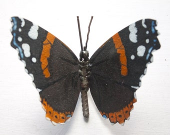 Butterfly Gift, Metal Sculpture of a Red Admiral Butterfly, A Bespoke Original Oil Painting on Metal, A Recycled Piece of Animal Art.