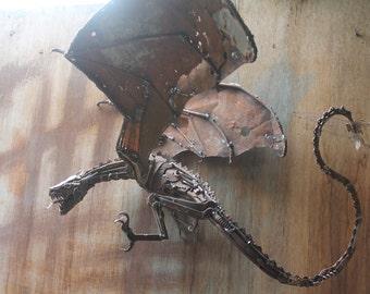 Dragon Sculpture, Welded Scrap Metal Sculpture, Unique Artwork, Recycled, Repurposed, Reused, Scrap Metal Art