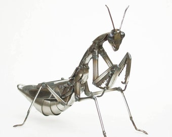 Praying Mantis Scrap Metal Sculpture,  Stainless Steel Insect, Unique Artwork