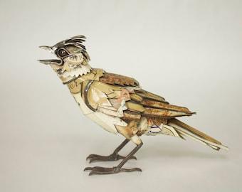 Scrap Metal Sculpture of a Skylark, Reclaimed Tins, Metal Bird, Wildlife, Art, Sculpture, Life Sized, JK Brown Original, Vintage Tins