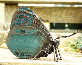 "Holly Blue Butterfly (6"")  Scrap Metal Sculpture, Unique Art Work, Reclaimed"