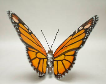 Monarch Butterfly Sculpture, Metal Butterfly, Original Oil Painting on Metal, A Bespoke Gift of Animal Artwork, American Wildlife.