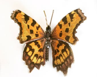 Butterfly Sculpture of a Comma Butterfly, Original Oil Painting on Metal, A Bespoke Gift of Animal Art, Scrap Metal Art.