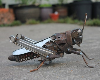 Scrap Metal Sculpture of a Field Grasshopper,Reclaimed Repurposed Recycled Art, Original and Unique