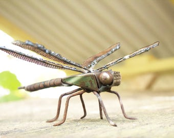 Dragonfly Sculpture Made From Scrap Metal, Emperor Dragonfly, Welded Unique Artwork, Reclaimed Materials, Recycled, Insect Art