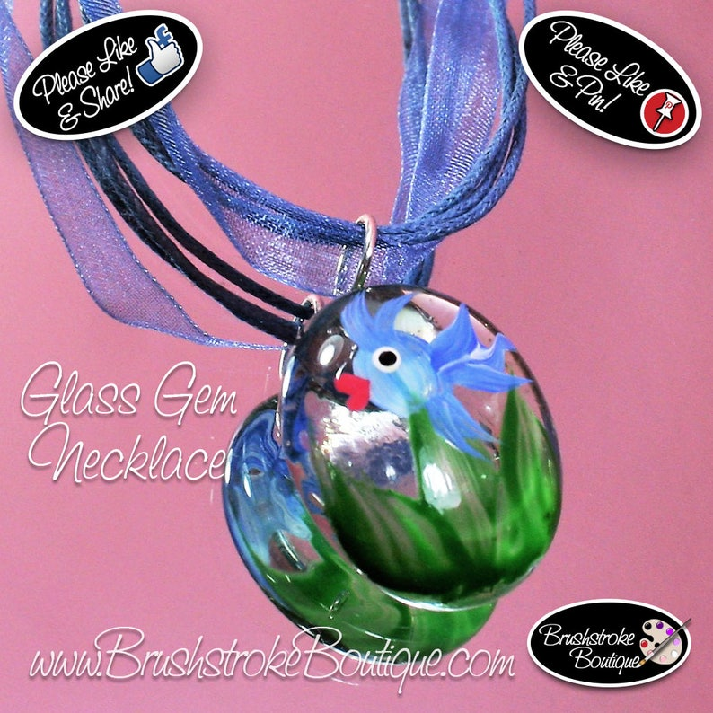 Hand Painted Glass Jewelry Painted Jewelry Glass Necklace Glass Gems Painted Glass Pendant Domed Glass Jewelry Somethings Fishy