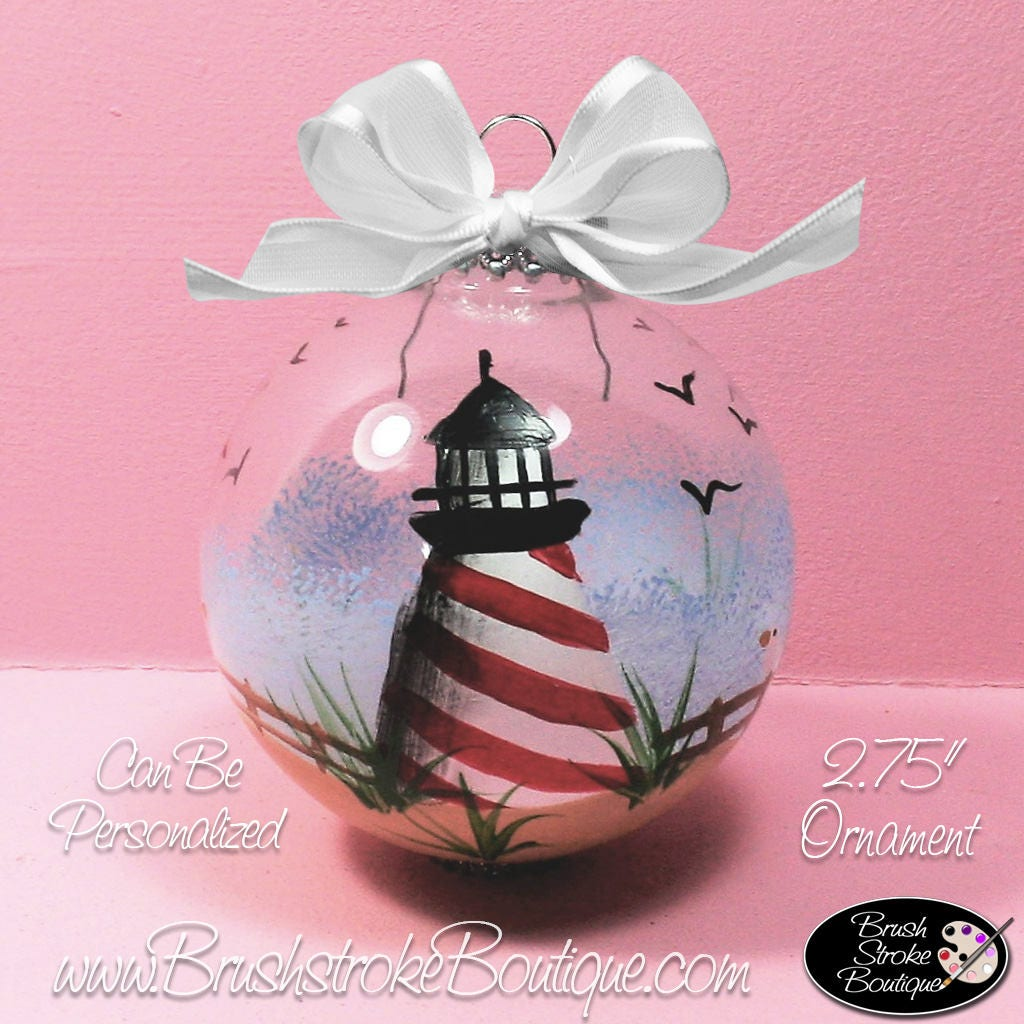 Lighthouse Ornament Hand Painted Glass Ball Ornament   Etsy