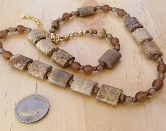 Beadwork Picture Jasper Beaded Necklace Czech Glass Beads Gold Filled Clasp Women's Gifts for Her