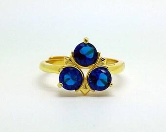 Zelda zora Sapphire ring from the legend of zelda, sterling silver or 18k gold