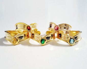 Sailor Moon tiara ring made of solid sterling 925 silver and 18k gold plated, adjustable