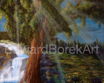 Dandelion field with tree and waterfall acrylic landscape painting